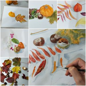 Painting Autumn in watercolour at Art classes  in Kidderminster Worcestershire