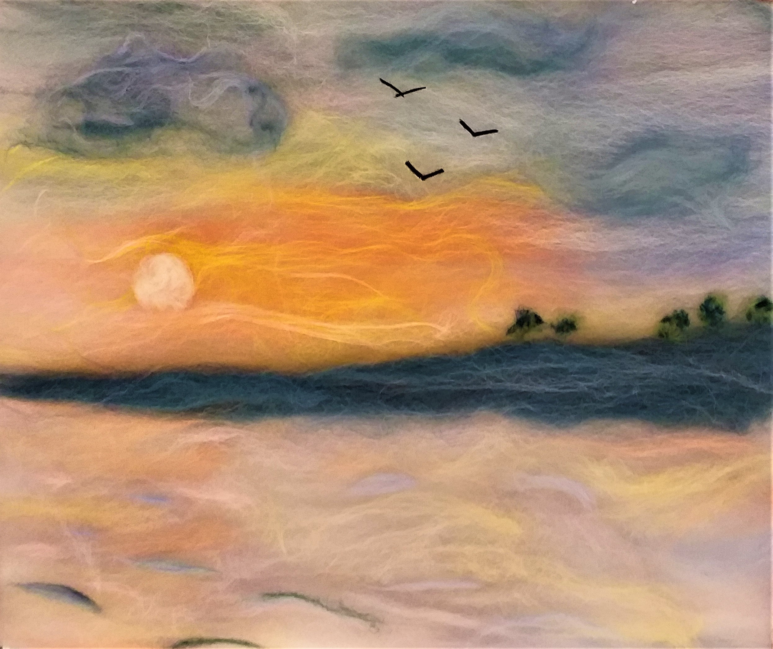 'Sunset wool painting' student's work created at Art Textiles course in Cotswolds with Raya Brown