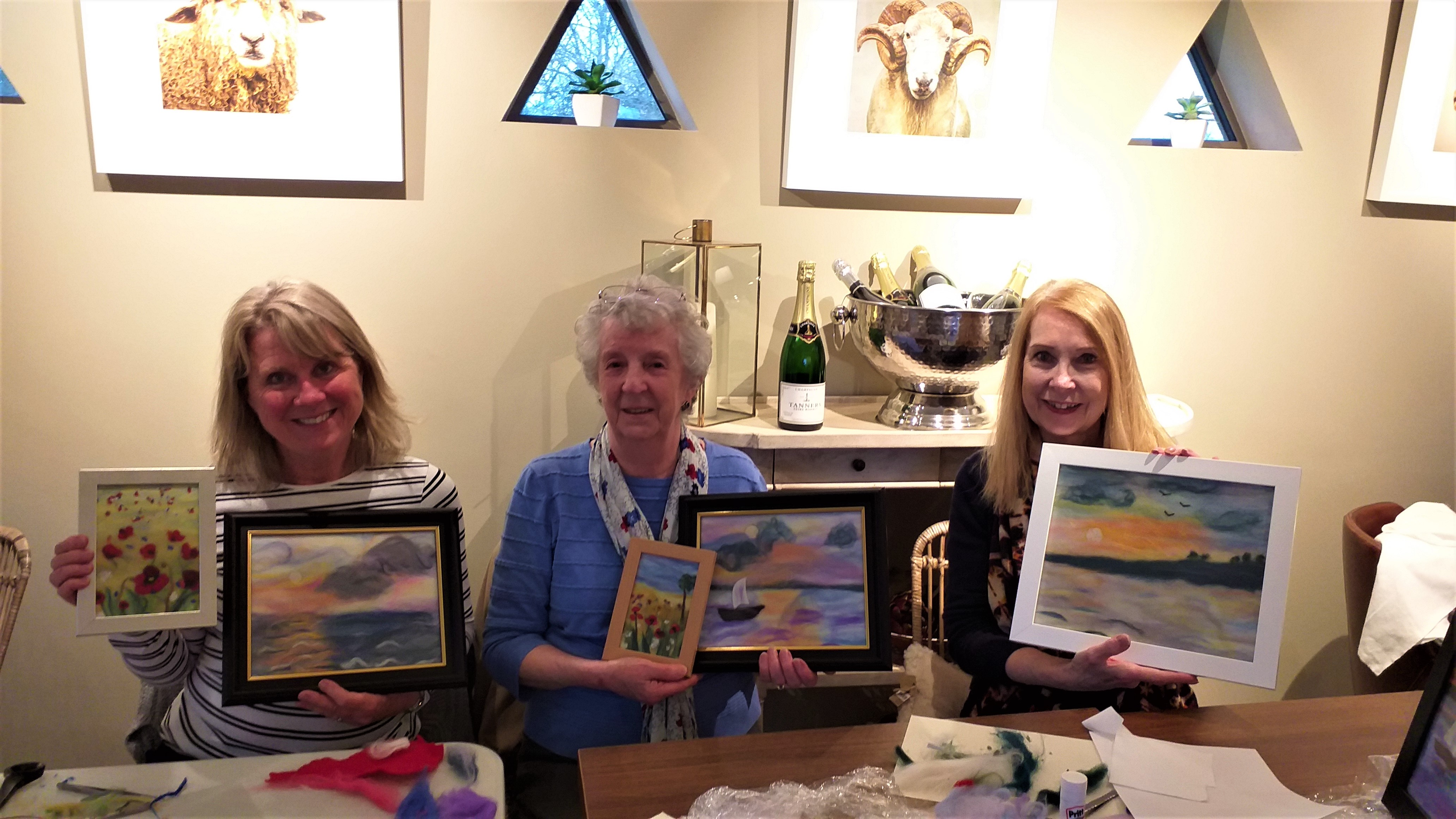 students with their wool fibre paintings at Broadway Tower art and textiles course