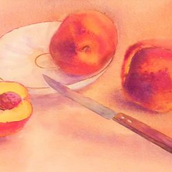 Juicy Peaches original watercolour by Raya Brown