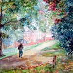Autumn has come to Ludlow. Watercolour by Raya Brown