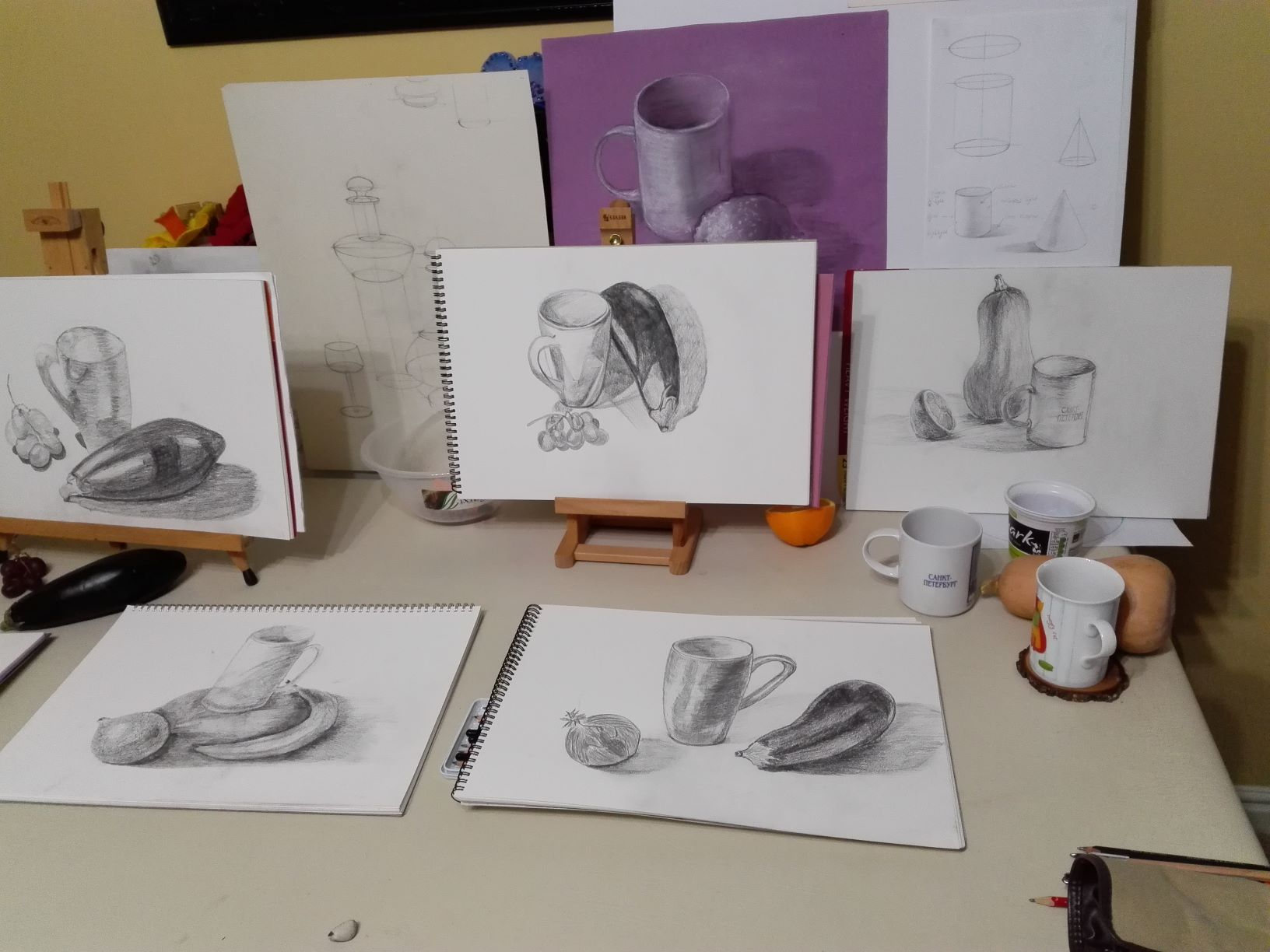 small size Still life task at Magic Wool Studio at the beginners class (1)